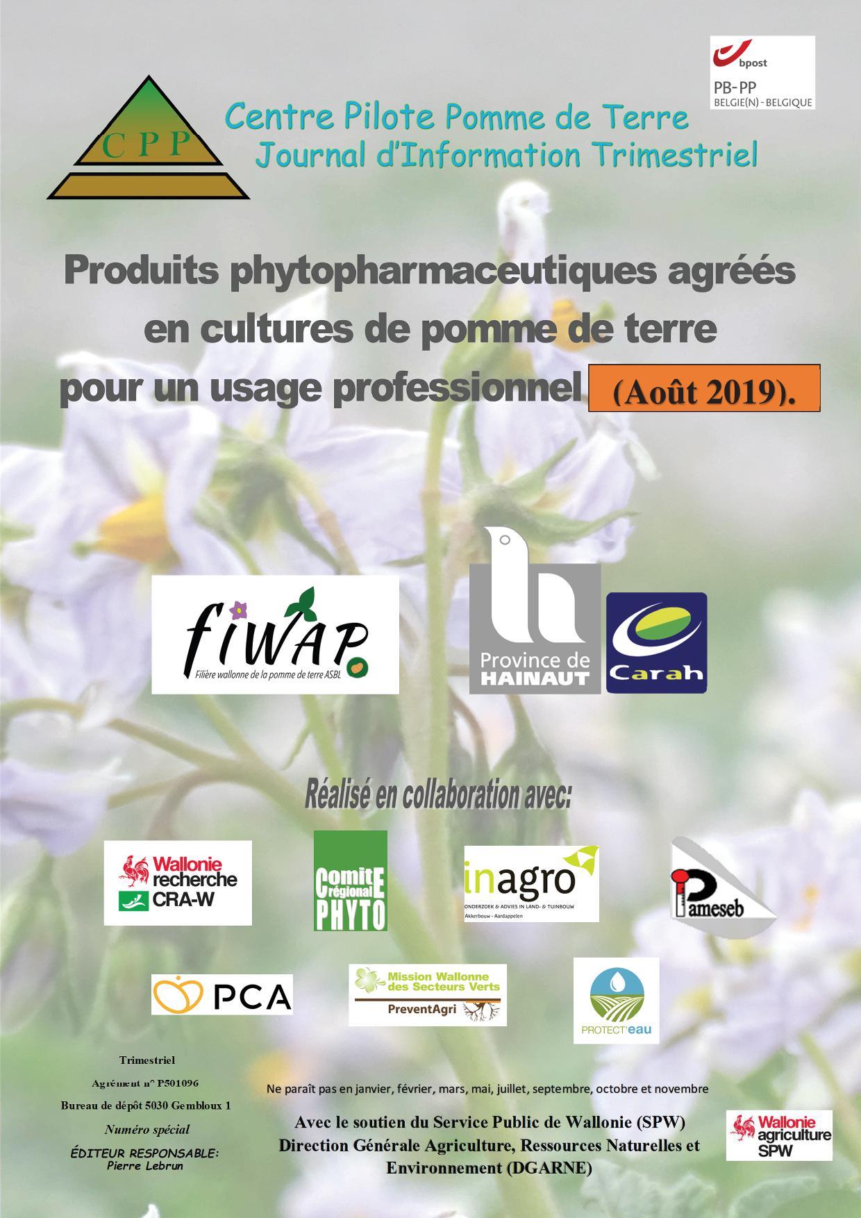Changements dans les produits phyto agréés et leur application – août 2019