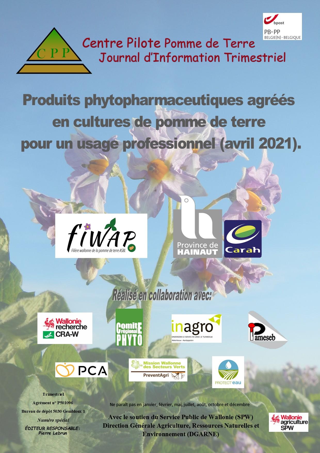 Liste des produits phytopharmaceutiques agréés en culture de pdt pour un usage professionnel – 2021